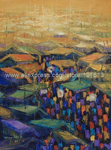 Expressionist painting african fine art market center handmade ghana oil paintings arts and crafts modern painting
