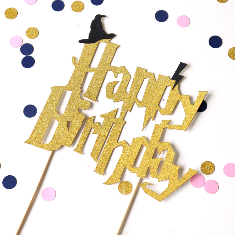 Harry Potter Happy birthday cake topper,Wizard Party Prop ...