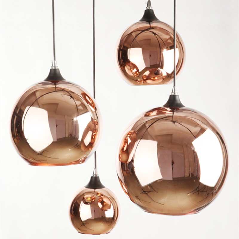 Copper plated glass spheres Pendant lamp Diner stairs light bar mirror space ball glass pendant light AC110/AC220V/AC230V nitro triple chrome plated abs mirror 4 door handle cover combo