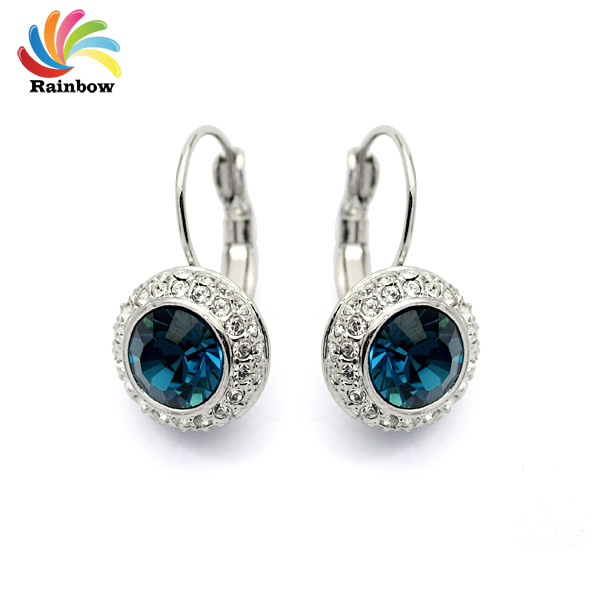Blue Moon River Classic Earrings Genuine Austrian Crystal Streamline Silver ( pair) earring Ohrringe silver-jewelry