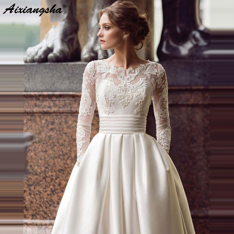2019 Wedding Dresses With Sleeves: Modest 2019 Wedding Dresses Long Sleeve Turkey Scoop Satin
