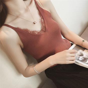 Sexy Women Plain Camisole Lace Splicing Double V-neck Vest Slim Sling Tank Tops