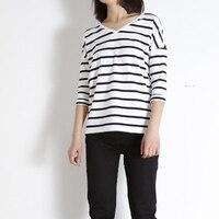 Deve Ter Básica Camiseta Mulheres 3/4 Manga Comprida V Neck Camisa Listrada Senhoras Soltas Casual T Camisas de Algodão