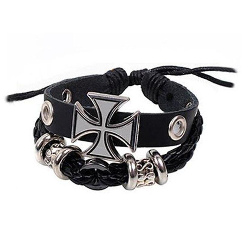 Cool Black German Reich Prussia Iron Cross Bracelet Alloy Cloth Fabric Christ Cross Warp Bracelet for Men Jewelry Gift Accessory