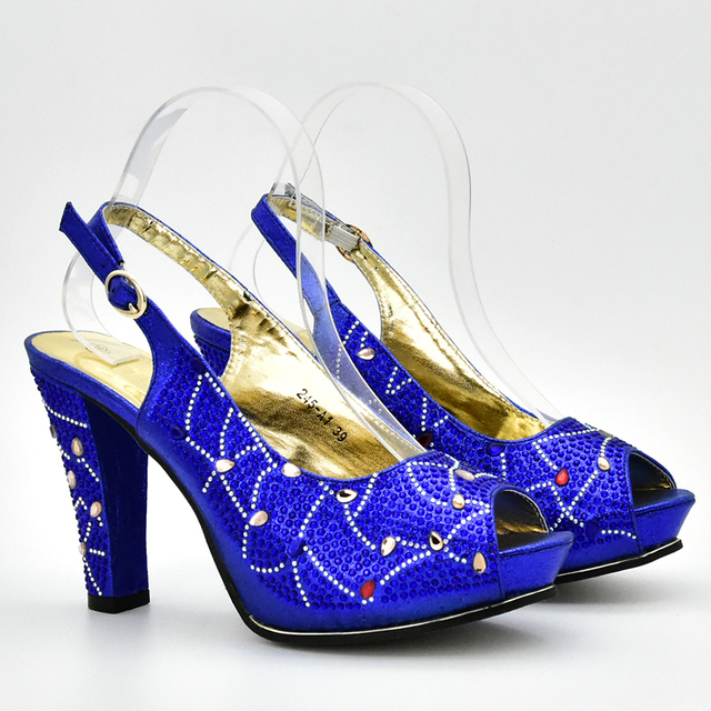 Blue Color African Matching Shoes and Bags Italian In Women Nigerian Shoes and Matching Bags Matching Italian Shoe and Bag Set