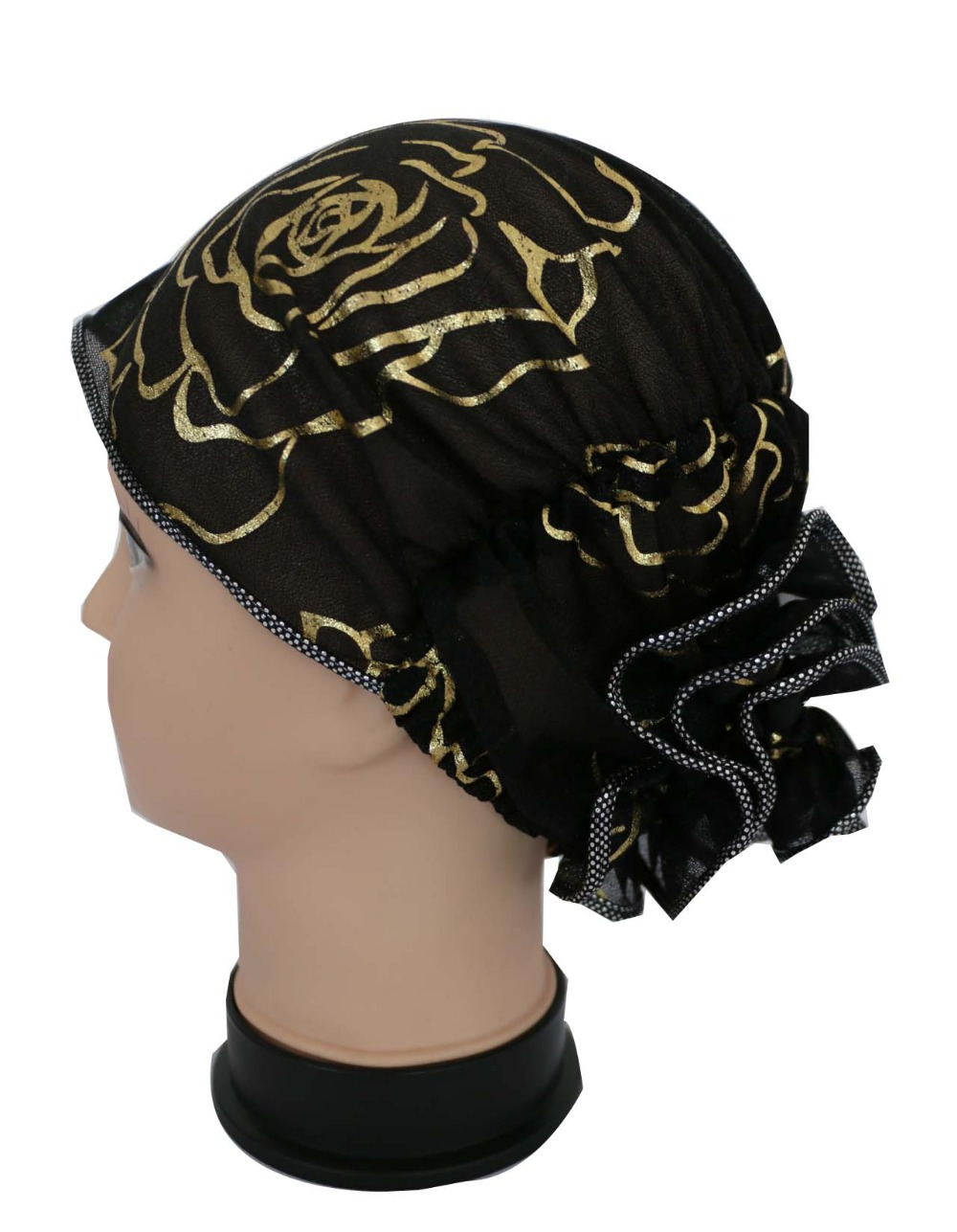 Free Shipping 2017 New Female Summer Black White Bronzing Rose Floral Muslim Hijab Caps Turban Hats For Womens kukmara к101