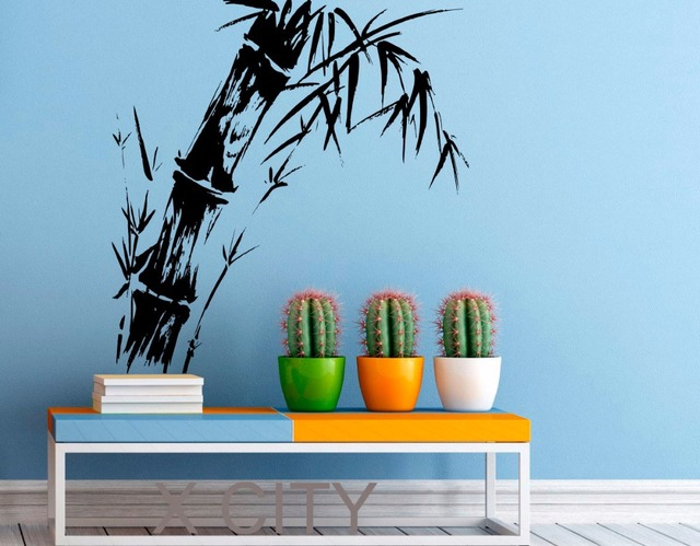 bamboo stalk wall decal zen plant vinyl stickers chinese landscape