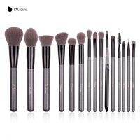 DUcare 15pcs Grey Make Up Brushes Synthetic Hair Cosmetic Makeup Brush Kits High Quality Brush Set
