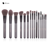 DUcare 15pcs Grey Make Up Brushes Synthetic Hair Cosmetic Makeup Brush Kits High Quality Brush Set