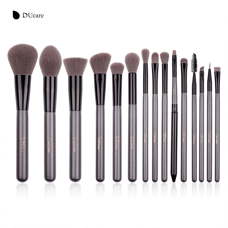 DUcare 15pcs Grey Make up brushes Synthetic Hair Cosmetic Makeup Brush Kits High Quality Brush Set ducare 6pcs makeup brush set luxury