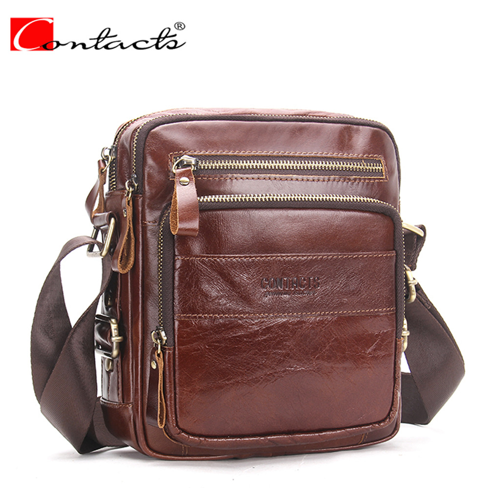 CONTACT'S Brand 2017 Genuine Leather Bags Men High Quality Messenger Bags Small Travel Dark Brown Crossbody Shoulder Bag For Men hot 2017 genuine leather bags men high quality messenger bags small travel black crossbody shoulder bag for men li 1611