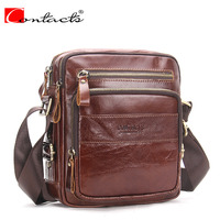 CONTACT S Brand 2017 Genuine Leather Bags Men High Quality Messenger Bags Small Travel Dark Brown