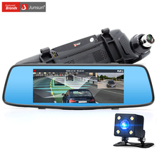 "Junsun 7"" Car DVR Camera Mirror with ADAS LDWS Super Night Vision Full HD 1080P Dual Lens Rear view Mirror"