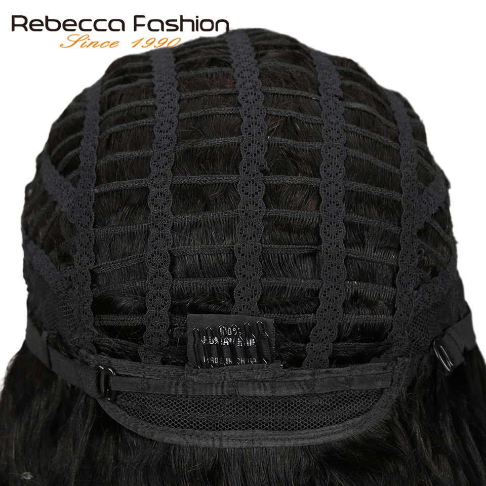 Rebecca свободные вьющиеся короткие человеческие волосы кружевные парики для черных женщин L часть перуанские Remy свободные Кудрявые Волнистые волосы парик натуральный черный