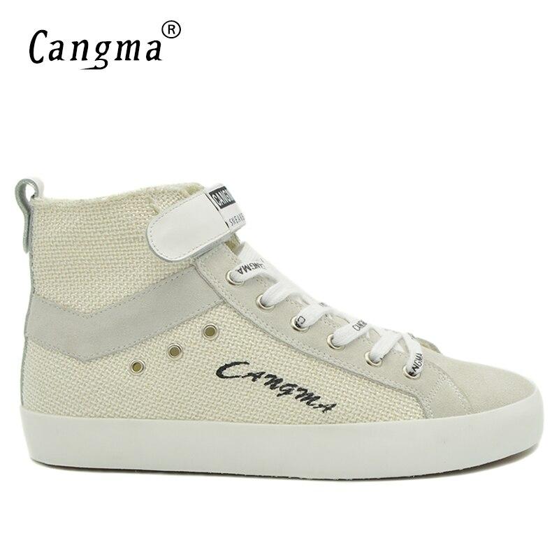 CANGMA оригинальный роскошный повседневная обувь Винтаж человек Сапоги и ботинки для девочек Для мужчин белый Спортивная обувь ручной работы ...