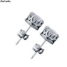 2017 Stud Earings Fashion Jewelry 8MM Round Crown 2 Carat Cubic Zirconia Crystal Silver Stud Earrings for Women(China)