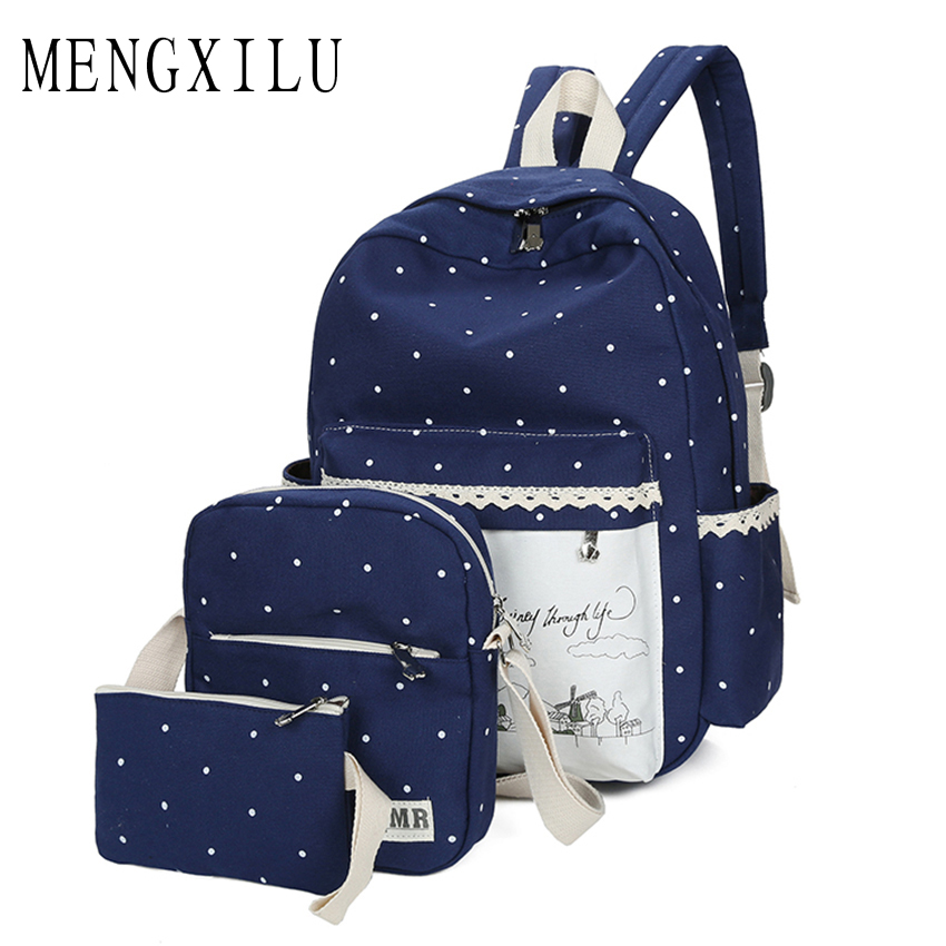 Canvas Backpack Women Dot School Bag For Teenagers Girls Preppy Style Composite Bags Set Travel Shoulder bag High Quality Purse purple flowers printed dream teenagers backpack fresh preppy adorable sthdents school bags fashion travel hiking computer bag
