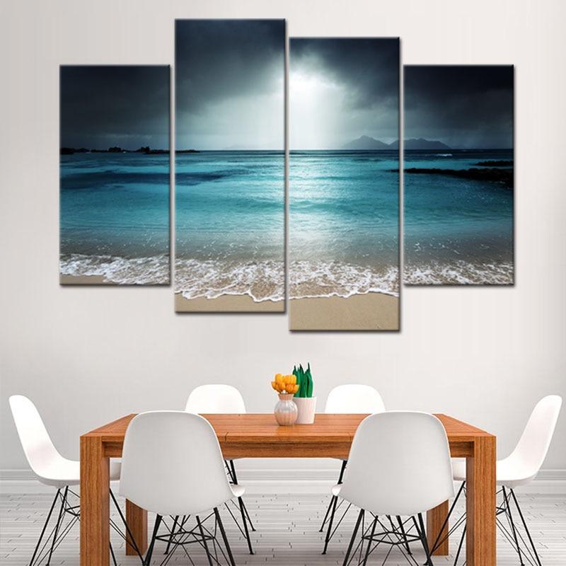 LARGE SEA CANVAS ART PRINT BLUE SEASCAPE WALL PICTURE
