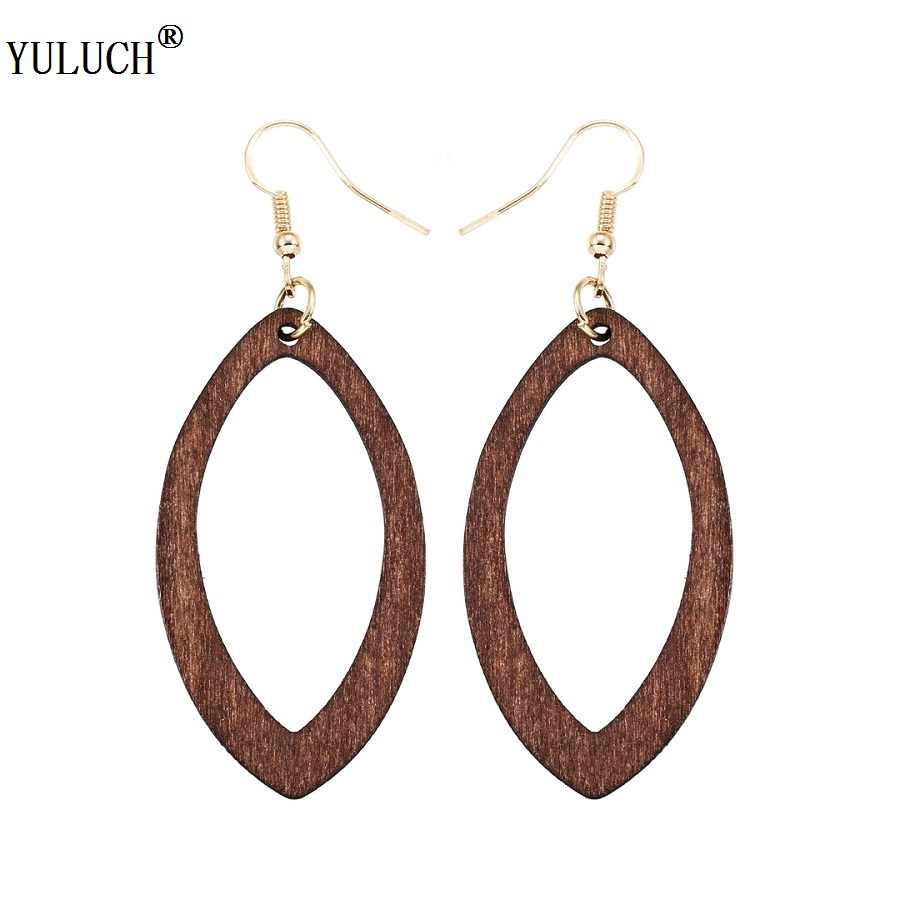 YULUCH 1 Pair Retail Natural Wooden Earrings Hollow Water Drop Wooden Earrings Simple Cute Style For Women Girls Party Jewelry