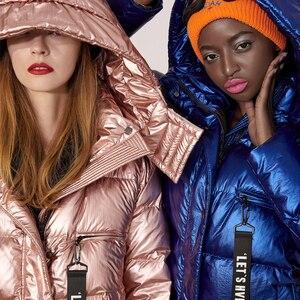 Image 3 - Missfofo 2019 novo inverno para baixo casacos longo inverno capa parka 90% pato branco para baixo magro sólido casaco feminino S XL