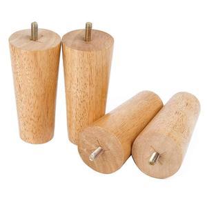 """Image 2 - 4.7 """"meubles en bois massif canapé jambes ensemble M8 boulon chêne conique remplacement canapé banc chaise Table basse armoire jambe ensemble de 4"""