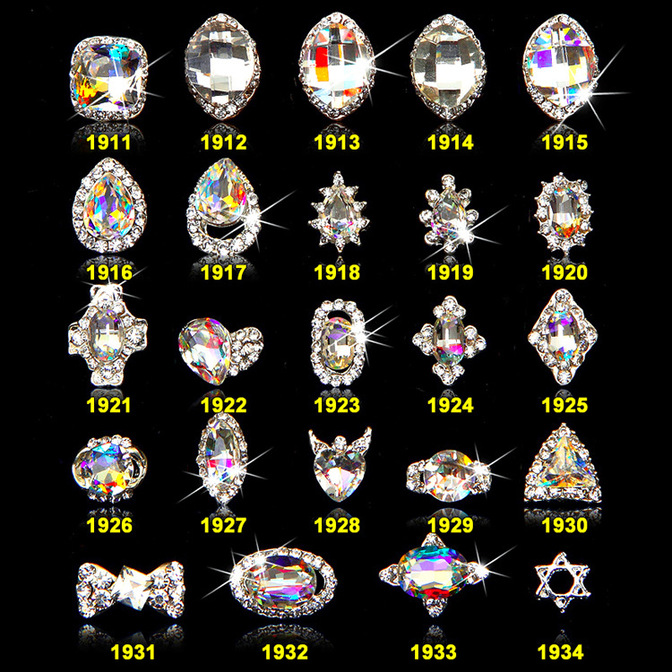 100PCS/lot 3D Nail Jewelry Charm Nail Art Diamante Rhinestones Silver Frame Jewel Gems Alloy Metallic Curved