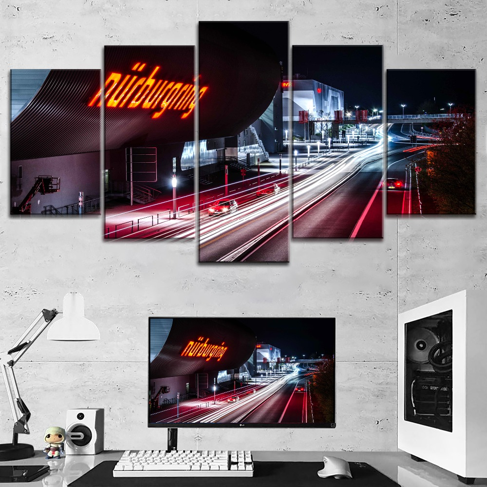 Large Poster Road-Painting Canvas-Print Night-Nurburgring-Rally Decorative Modular Wall-Art