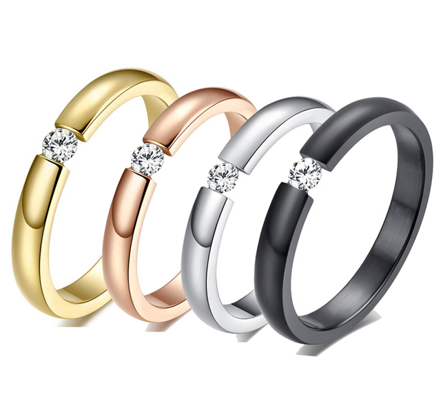 Fashion Smart Ring gold old Plated Wedding Ring Jewelry Four Prong