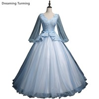 Light Blue Ball Gown Quinceanera Dress Long Sleeve Lace Sweet 16 Year Princess Dresses For 15 Years Prom Brithday Party Gowns