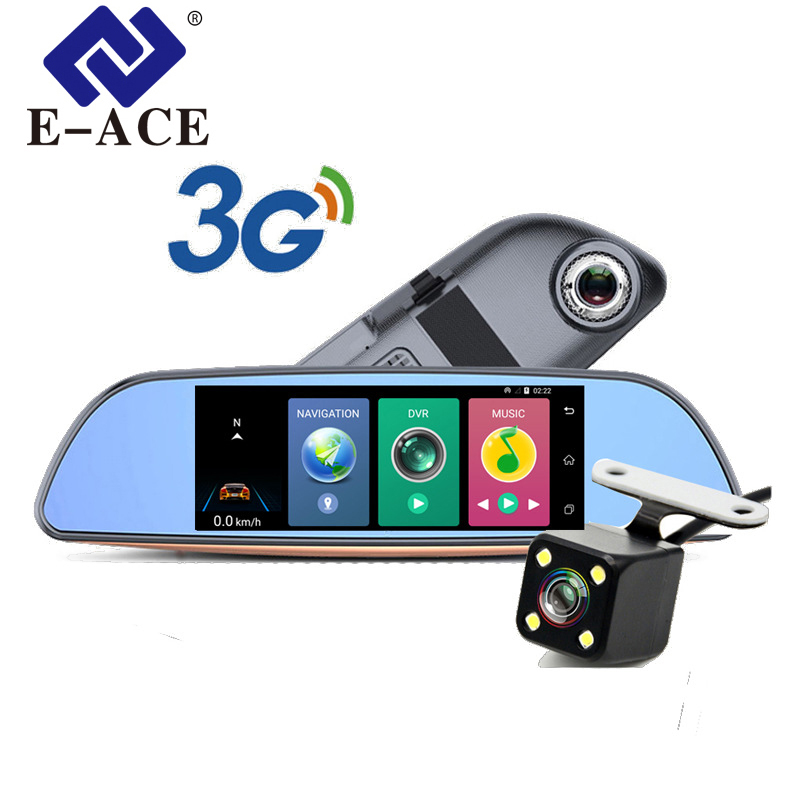 E-ACE Auto 3G 7Europa GPS Navigation Wifi Car Dvrs Android 1080P Navigator Tracher Video Recorder Rearview Mirror For Tourism e ace auto gps navigation tracker car dvr 3g wifi camera 7 touch screen android navigators 1080p video recorder rearview mirror