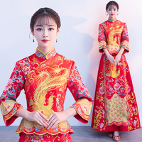 wedding cheongsam traditional Chinese bride dress Ancient marriage costume gown clothing womens embroidery phoenix red Qipao