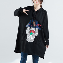 2018  Chinese autumn dress fashion leisure long cartoon printing hooded large foreign trade clothing