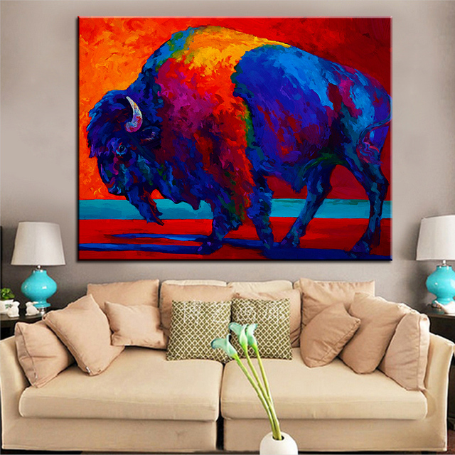 Large Size Printing Oil Painting Abstract Bison Wall Painting Steampunk  Wall Art Picture For Living Room
