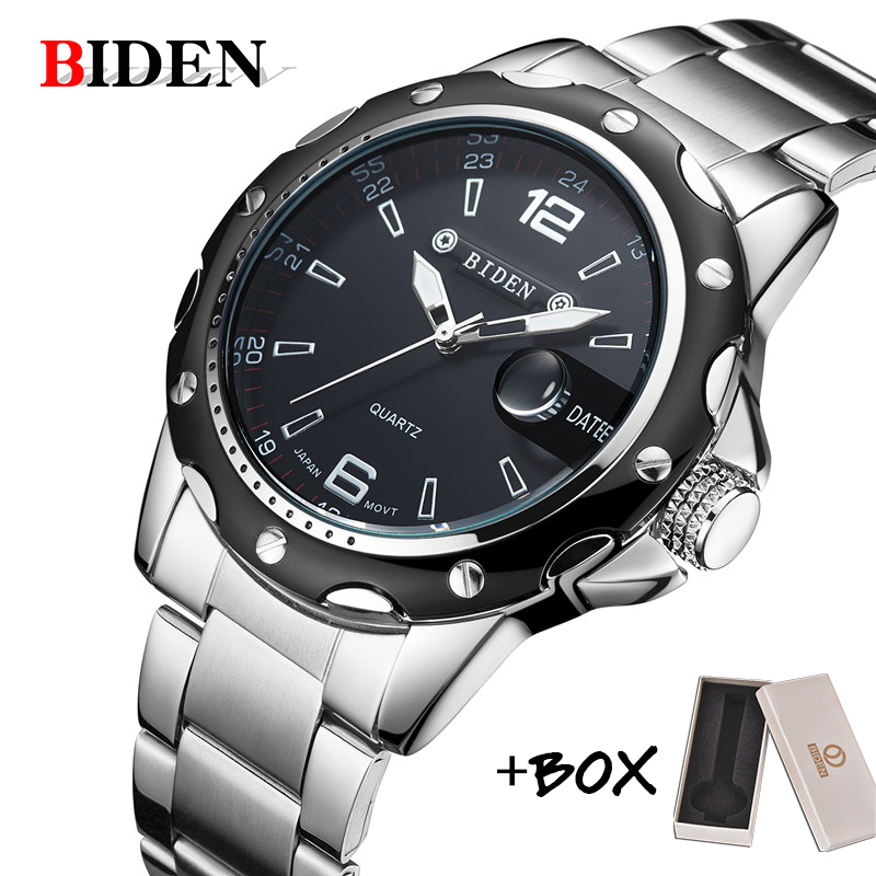 BIDEN Man Watch Stainless Steel Strap Watches Military Watch casual fashion  wristwatches Waterproof Watch man relogio masculino(China)