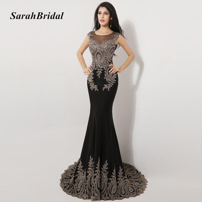 Luxury Crystal Black Mermaid Evening Dresses Chiffon 2017 Sleeveless