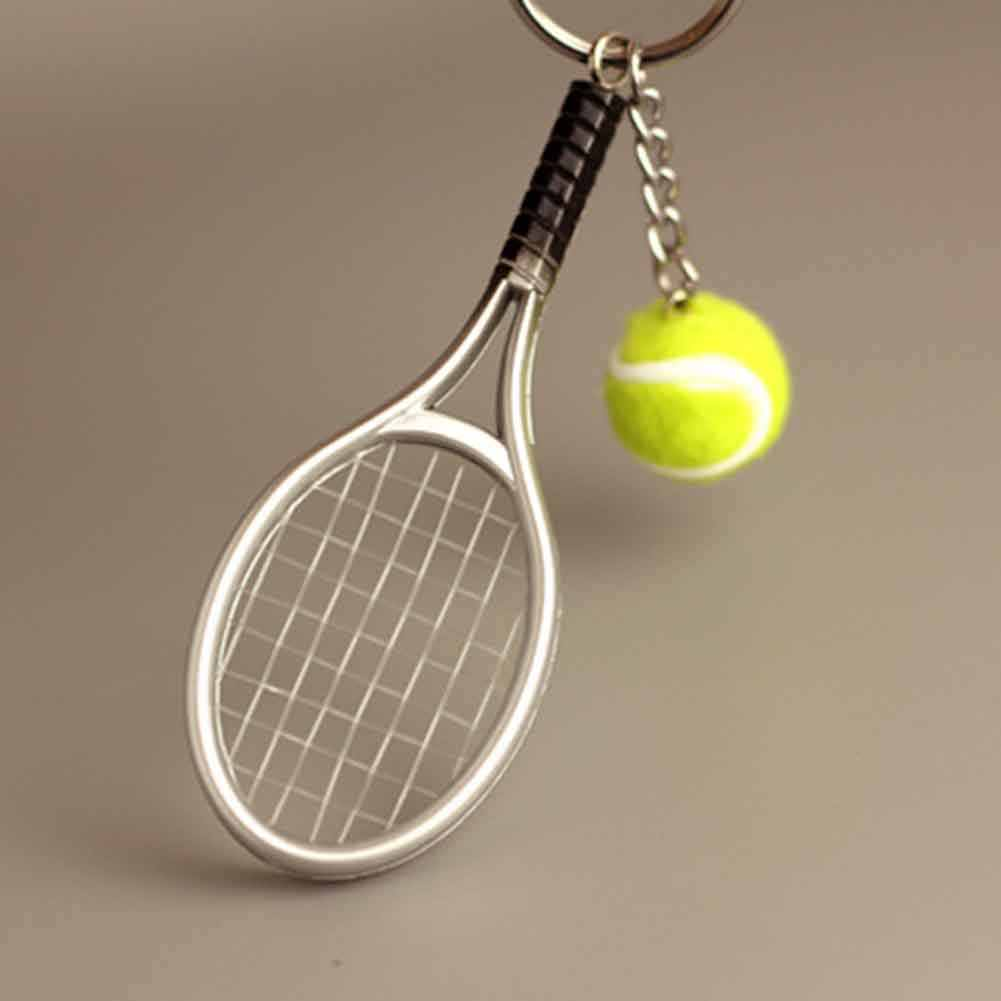 6 colors tennis keychain key ring tennis racket model key chain llaveros mujer creative portachiavi