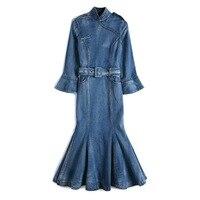 2019 новые модные Улучшенный чёнсам платье Стенд воротник манжеты тонкий мешок модные с фасонным подолом платье из джинсовой ткани