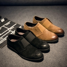 2017 sping/autumn New Men Oxford Shoes Suede Leather Men's Flat Shoes Casual Men Slip On Shoes