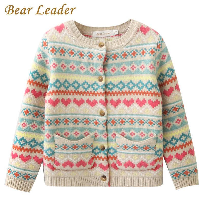 Bear Leader Girls Sweaters 2017 New Autumn&Winter Girls Clothing Long Sleeve Outerwear Love Striped Pocket Kids Knitwear