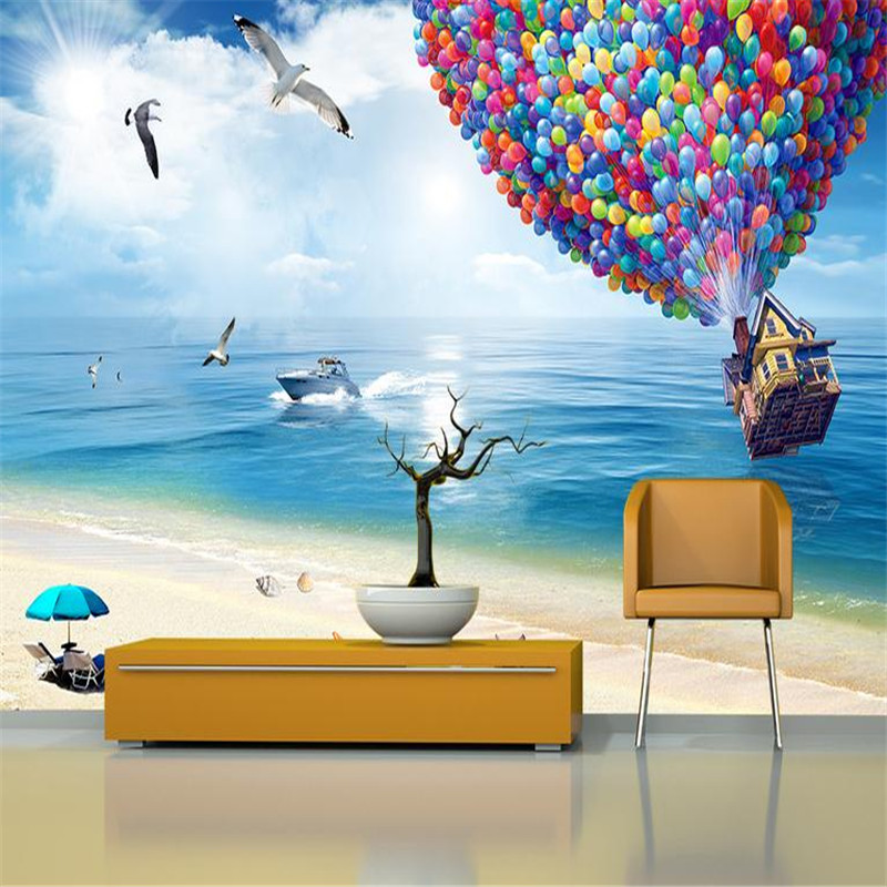 custom 3d modern decorate photo wallpaper bedroom living room large background wall mural blue sky beach balloon ocean wallpaper battlefield 3 или modern warfare 3 что