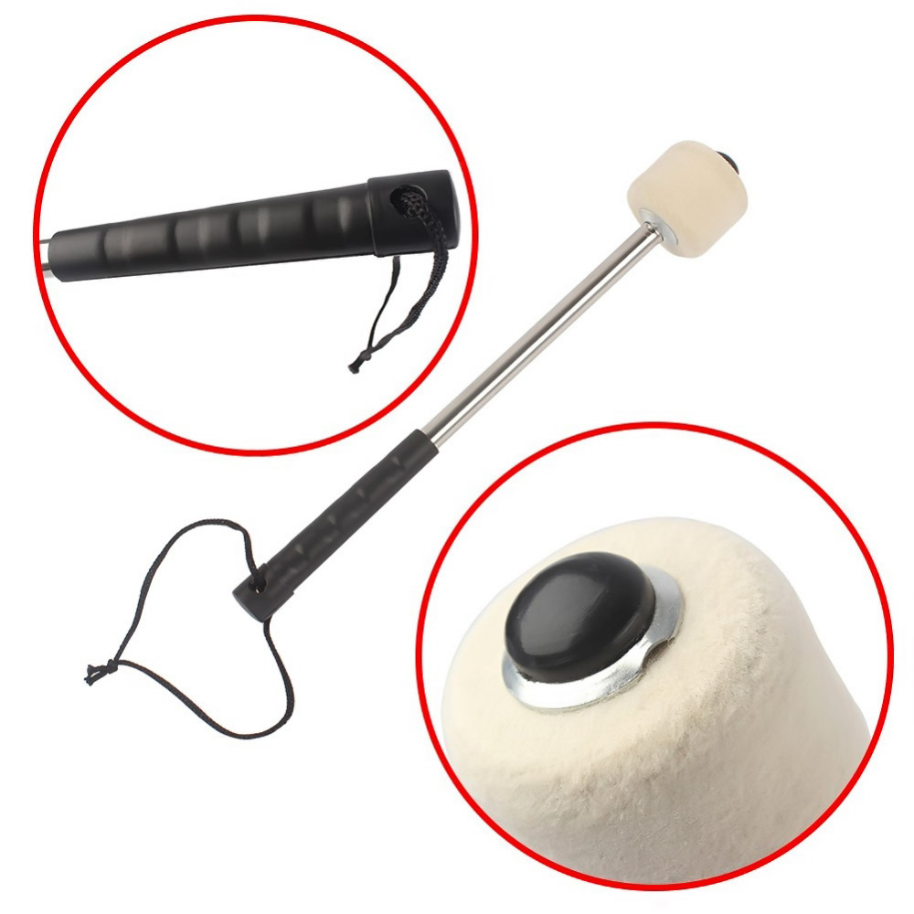 Professional Wool Felt Head Aluminium Alloy Hand Grip Army Drum Stick Bulging Drum Drumstick Hammer Instrument Part Accessory