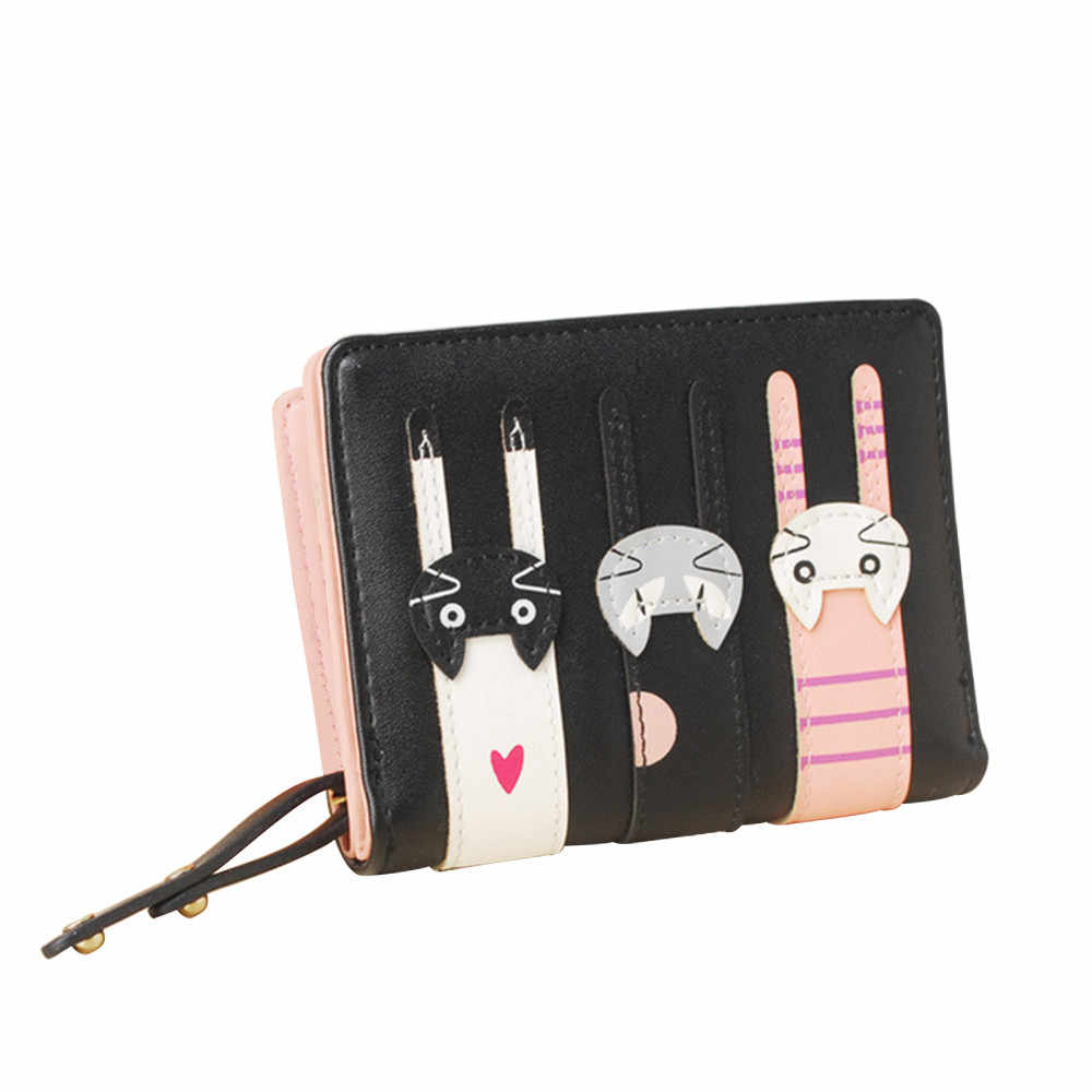 Maison Fabre brand  Band High-quality Leather Cartoon Three Little Kittens Short Wallets Candy Colors Women Purses