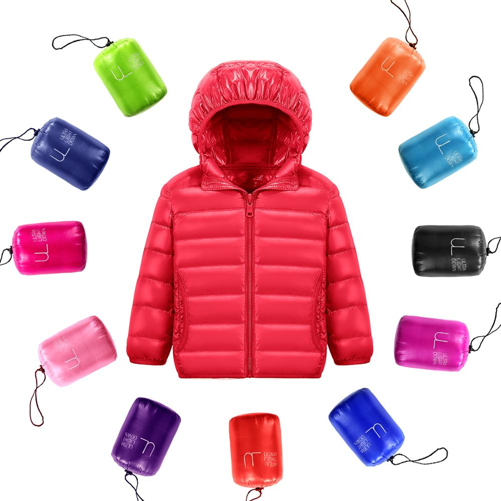 90% White DucK Down Winter Jackets for Boys Girls Ultra Light Portable Hooded Down Coat Overalls for Children Baby Down Jacket 1