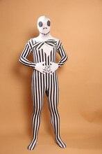 (A5-039)Stripe Skull Pattern Lycra Spandex Bodysuit Full Body Zentai Halloween Costume Fetish Zentai Suits For Party Celebration stars and stripe pattern bodysuit