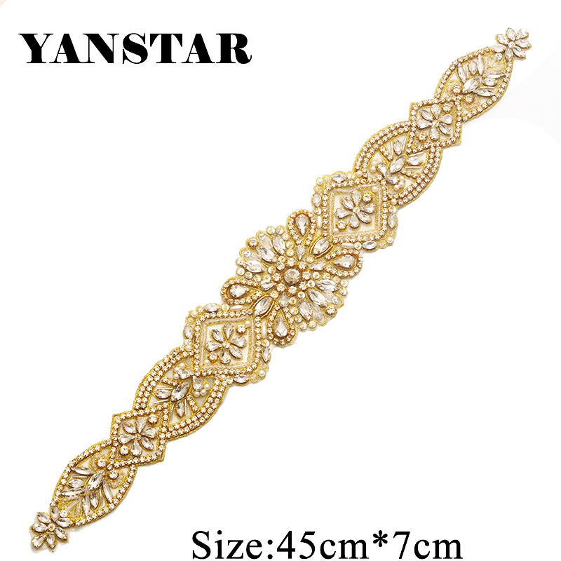 YANSTAR Wholesale 10PCS Bridal Sash Hand Beaded Sewing Crystal Rhinestone Applique Iron On For Wedding Dresses