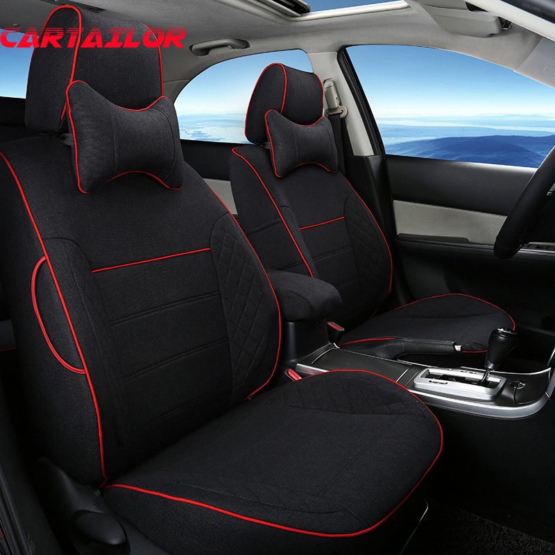 CARTAILOR Car Seat Cover Custom for Volkswagen VW Multivan Accessories Set Linen Cloth Cover Seats Protection Black Seat Covers