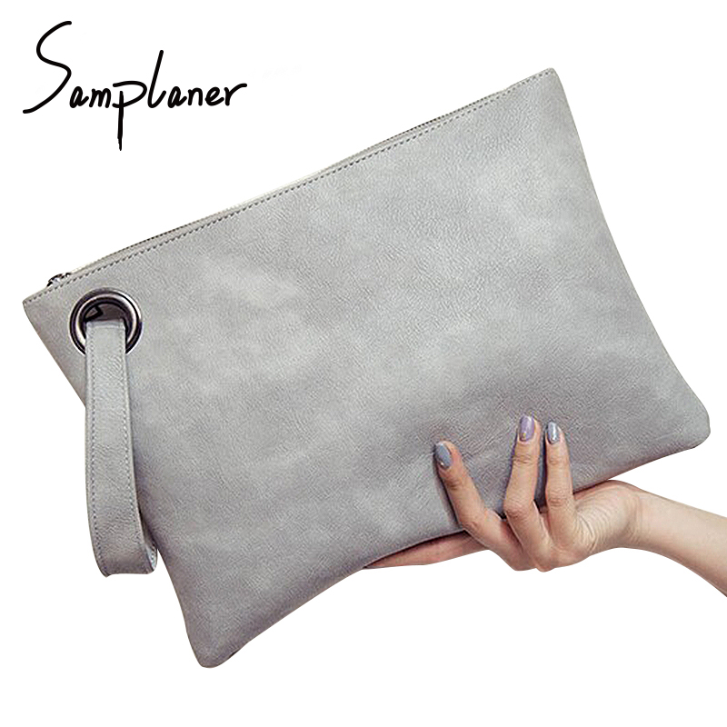 Samplaner Big Solid Women's Clutch Bag Leather Zipper Wristlets Women Envelope Bag Lady's Evening Bag Female Clutches Handbag