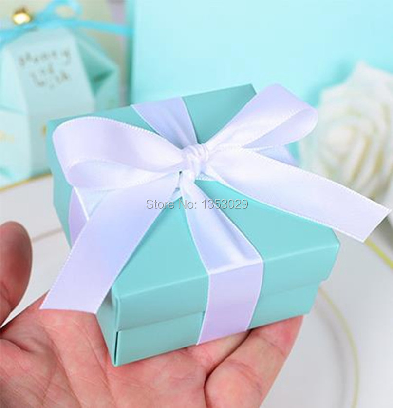 100pcs Tiffanyblue Wedding Favors Blue Wedding Candy Box Casamento