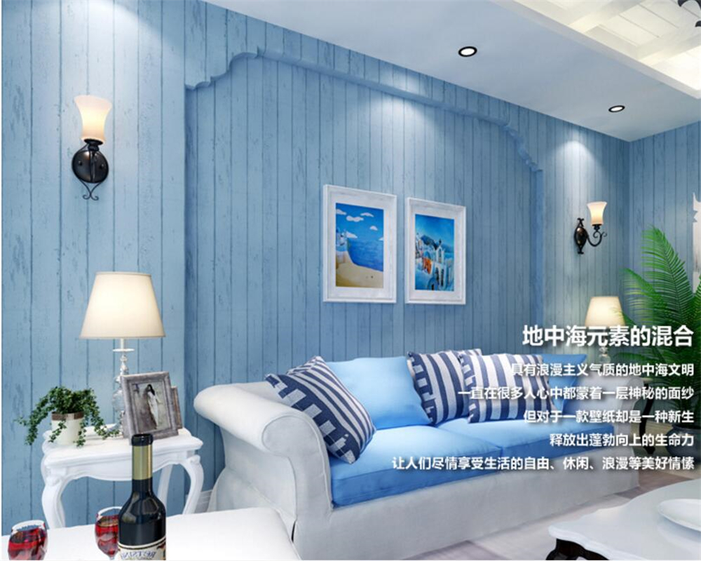 Beibehang Mediterranean vertical stripes wood wallpaper the sitting room TV setting wall paper clothing store 3d wallpaper roll beibehang shop for living room bedroom mediterranean wallpaper stripes wallpaper minimalist vertical stripes flocked wallpaper