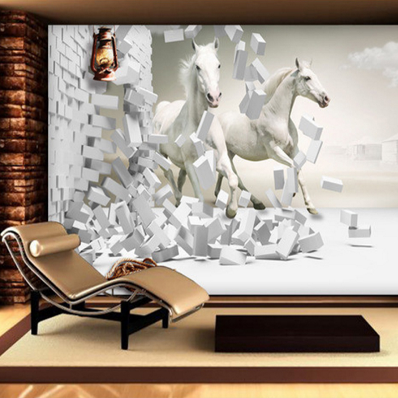 3D wallpapers for Wedding Room Horse 3D creative space TV background wall custom photo for Background wall Non Woven wall mural beibehang lovely abc print kid bedding room wallpapers ecofriendly fantasy non woven wall paper children mural wallpaper roll